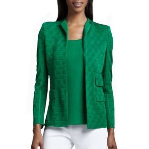 Misook M Textured Jacquard Green Cardigan Blazer
